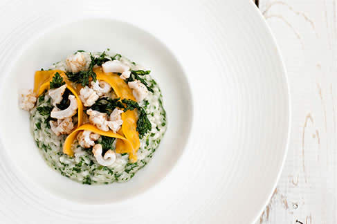 Garlic and Parsley Risotto with Sautéed Squid