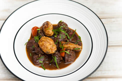 Venison stew with orange, thyme and Orkney cheddar dumplings